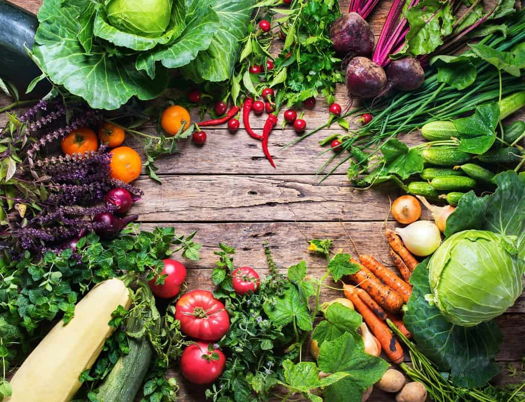 Assortment Fresh Organic Vegetables Round Frame Wooden Background Country Style Market Concept Local Garden Produce Clean Eating Dieting