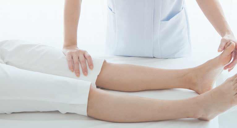 doctor checking a leg