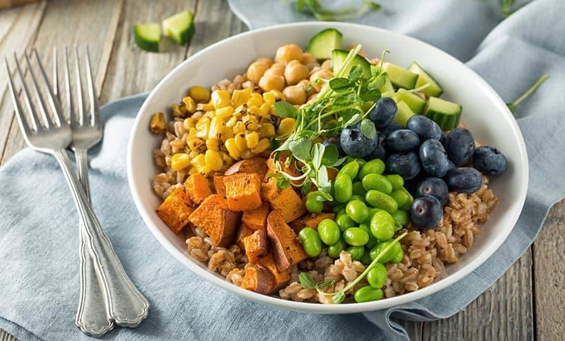 high carb low fat vegan in a bowl