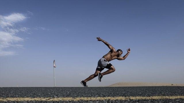 Man running full sprint