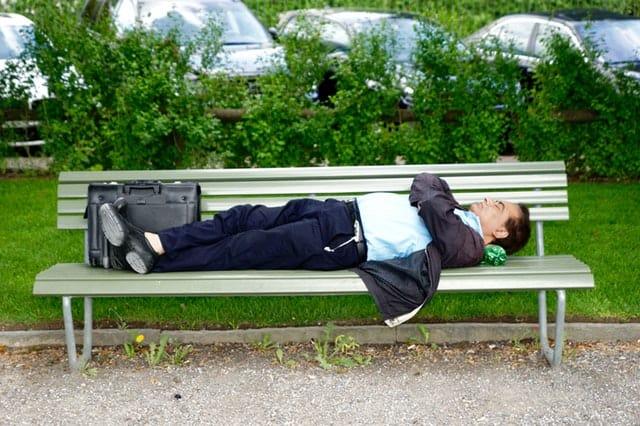 Man sleeping on the bench