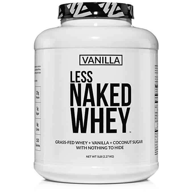 Less Naked Whey Vanilla Protein – All Natural Grass Fed Whey Protein Powder + Vanilla + Coconut Sugar- 5lb Bulk, GMO-Free, Soy Free, Gluten Free. Aid Mus