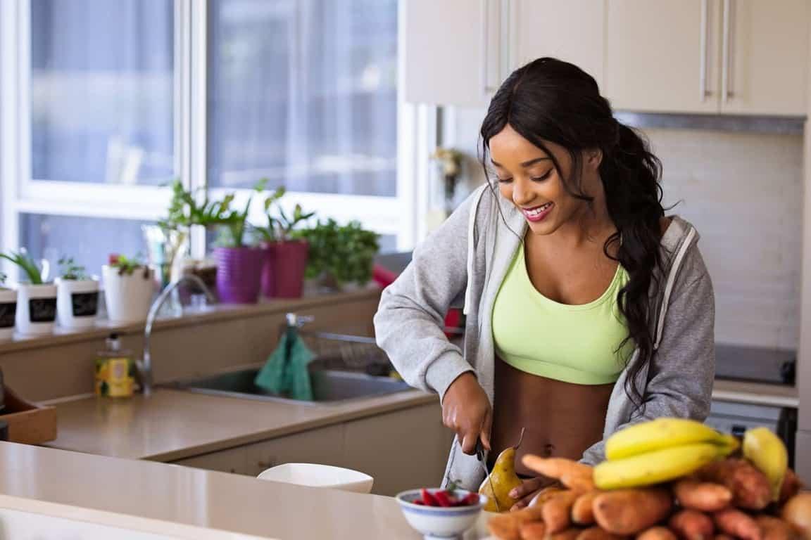 woman preparing healthy meal