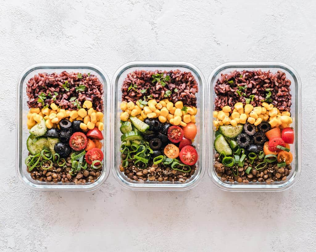three meal prep at the table