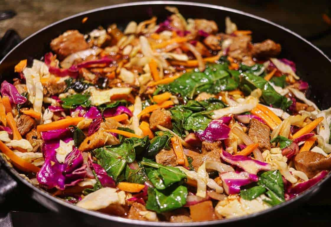 stir fried vegetables and meat for lunch ideas